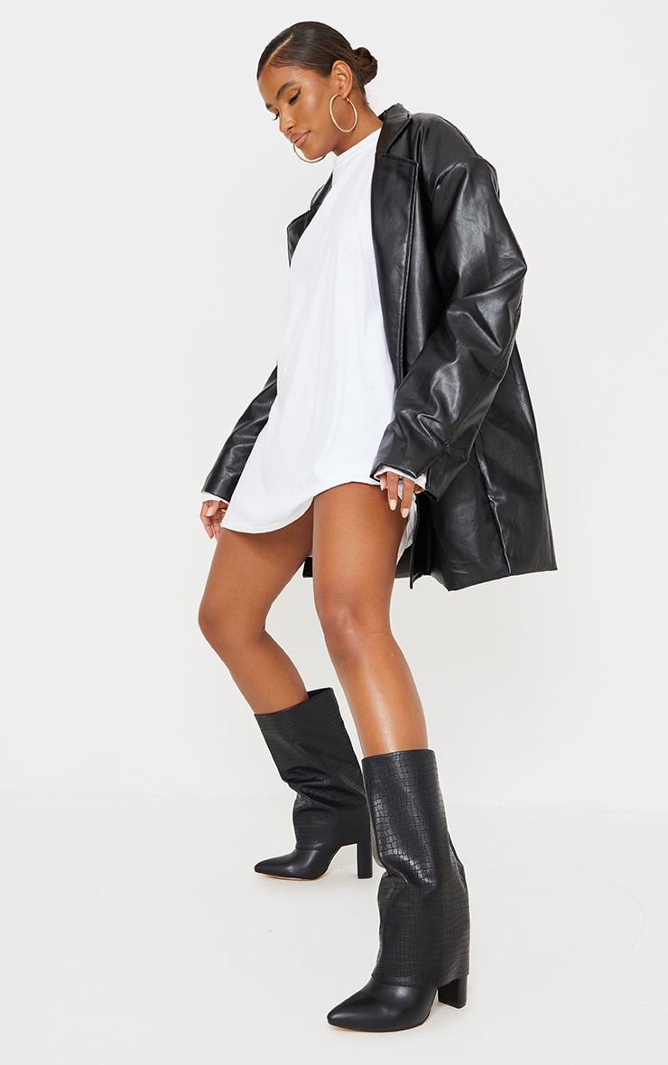 Black Wide Fit Fold Over Block Heel Knee Boots 1
