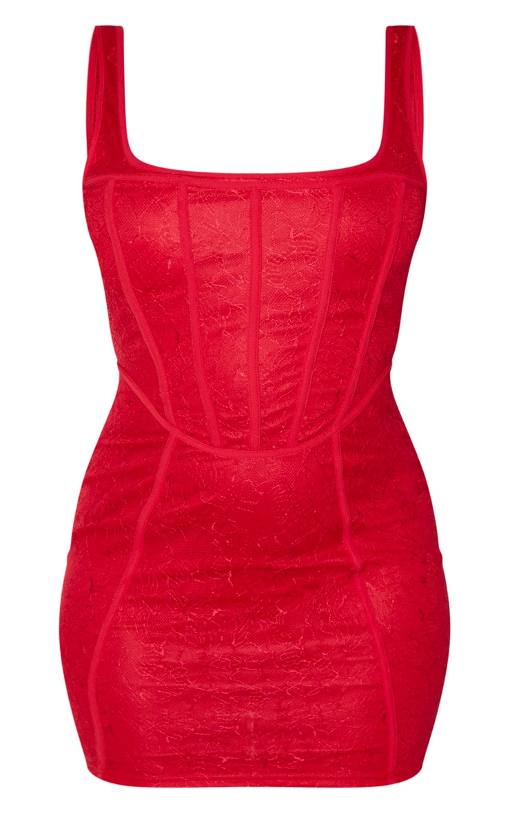 Red Sleeveless Lace Binding Detail Bodycon Dress 3