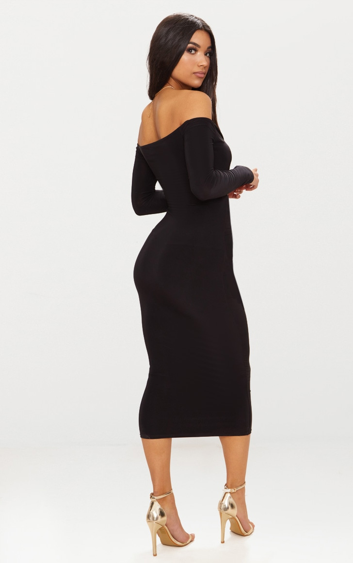Black Slinky Bardot Cut Out Detail Midi Dress 2
