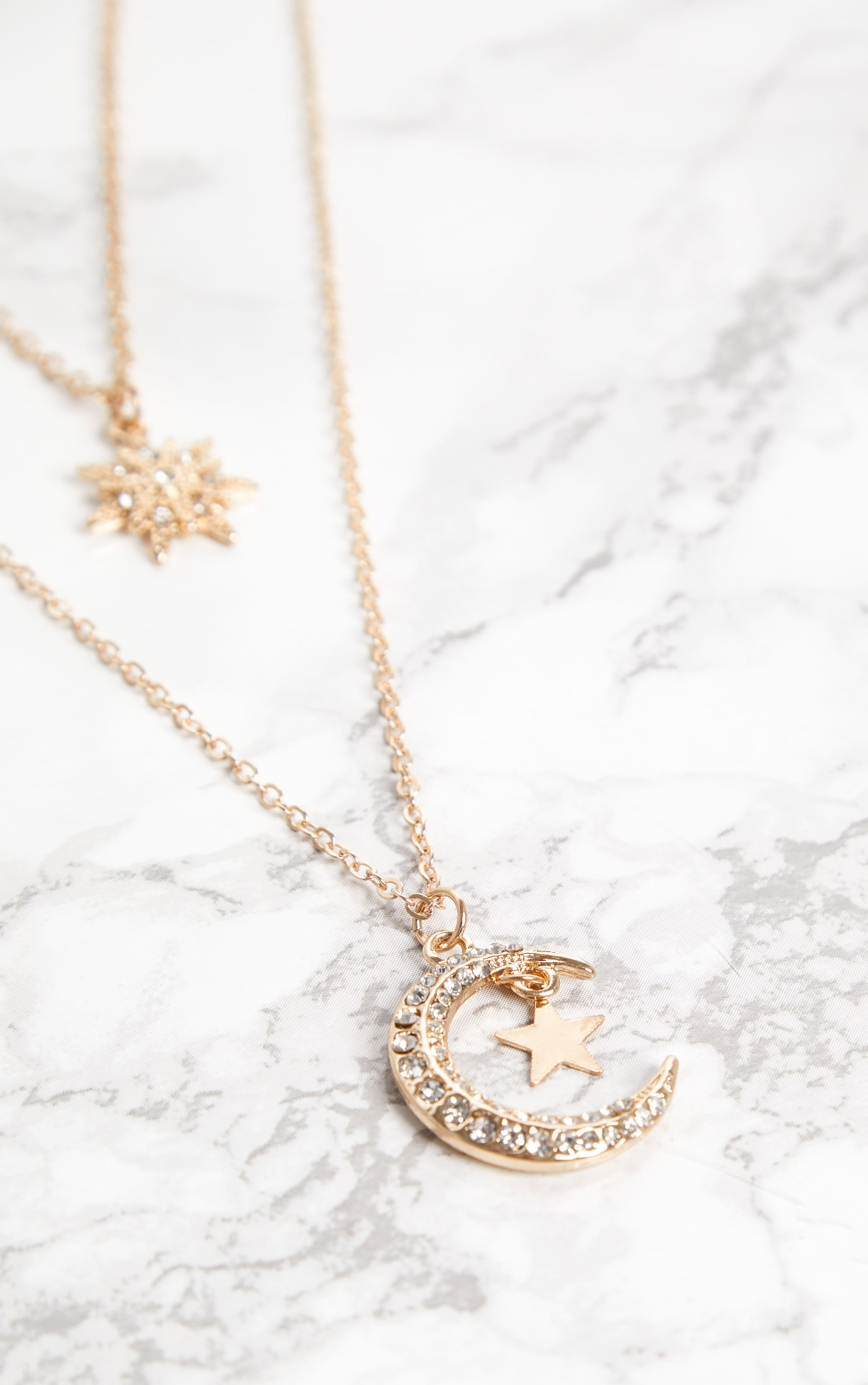 Gold Star Moon Diamante Double Layer Necklace 3