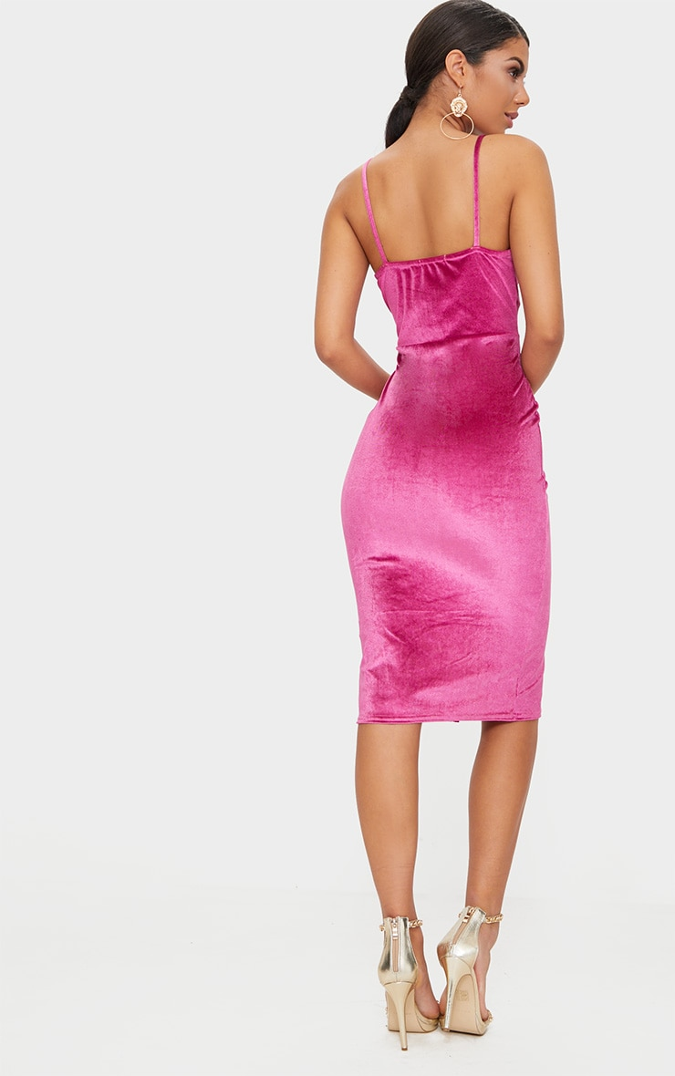 Fuchsia Velvet Plunge Twist Front Midi Dress 2