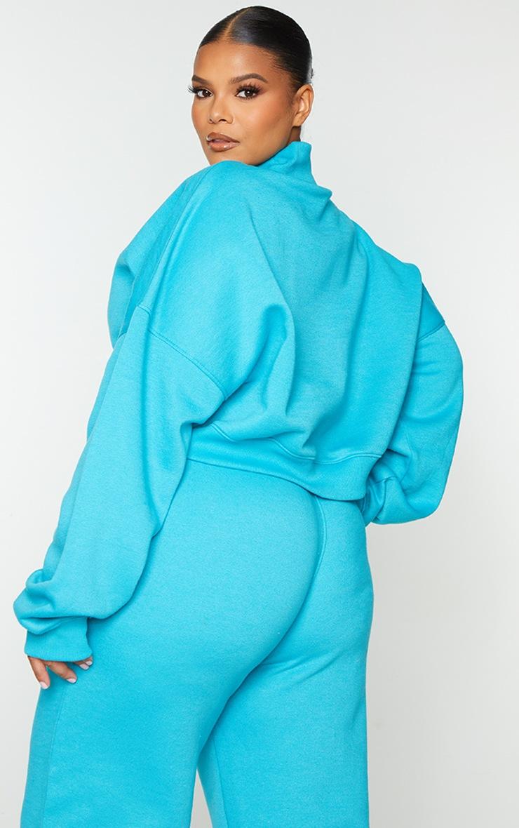 Plus Blue High Neck Crop Sweatshirt 2