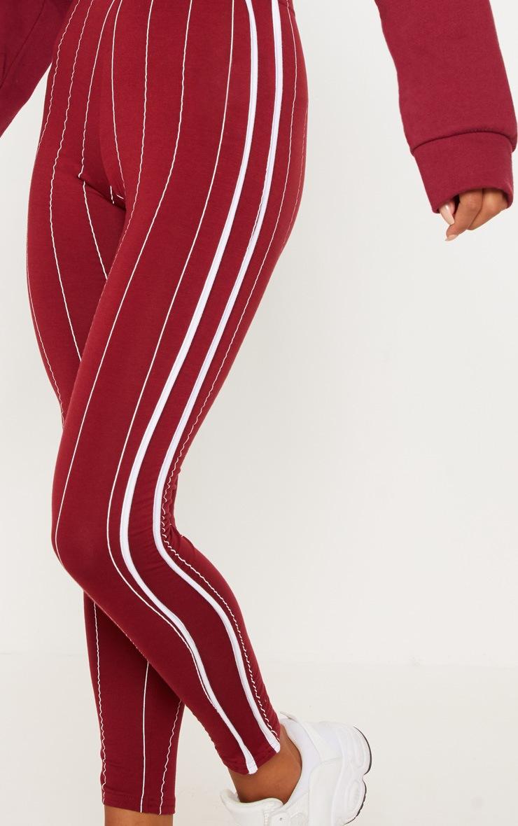 Burgundy Pinstripe High Waisted Side Stripe Legging  4