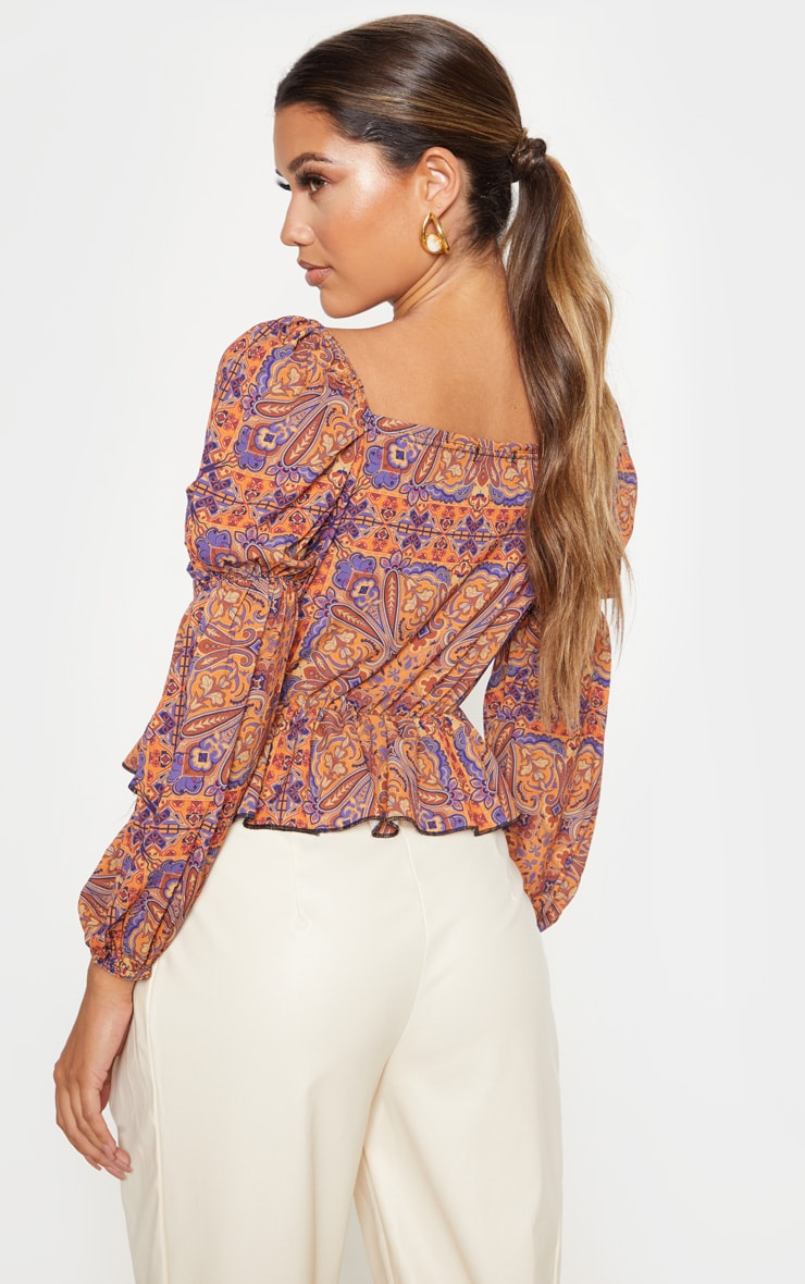Rusty Paisley Printed Frill Square Neck Blouse 2