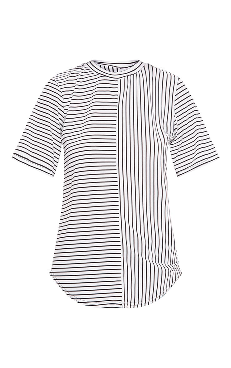 White Contrast Stripe Ribbed T Shirt 3