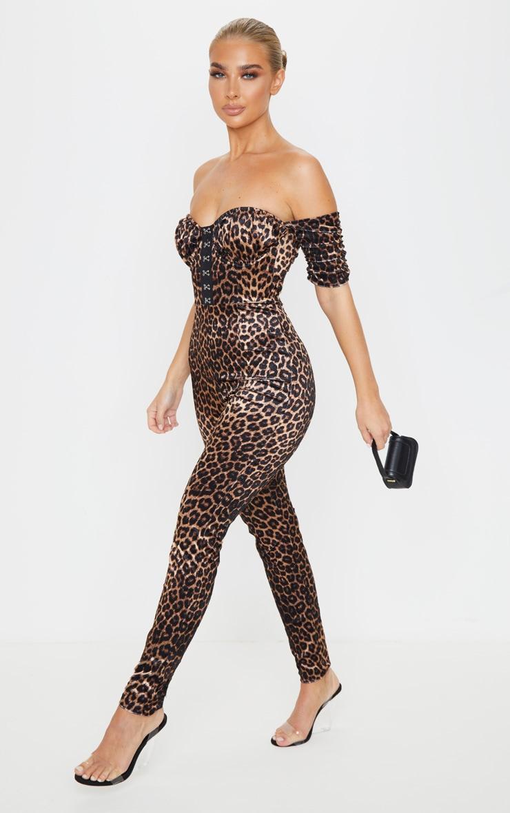 Tan Leopard Velvet Hook And Eye Detail Bardot Jumpsuit 3