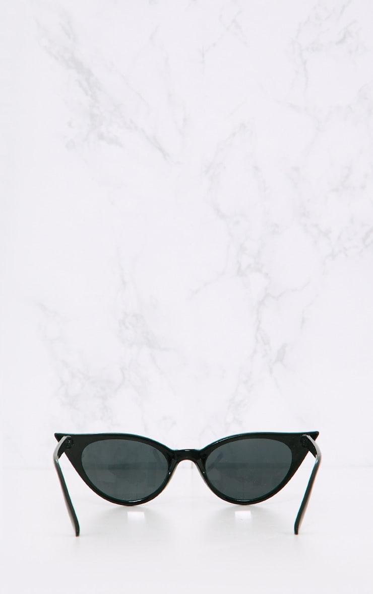 Black Extreme Cat Eye Slim Retro Sunglasses 5