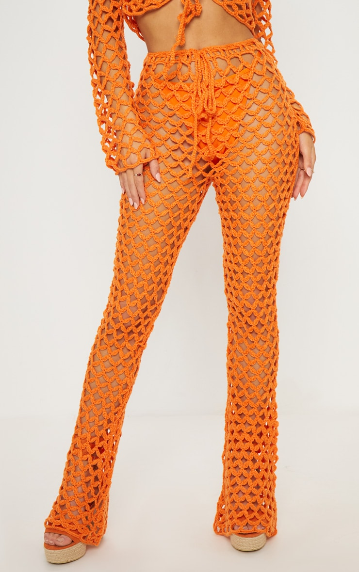 Pantalon flare en crochet orange 2