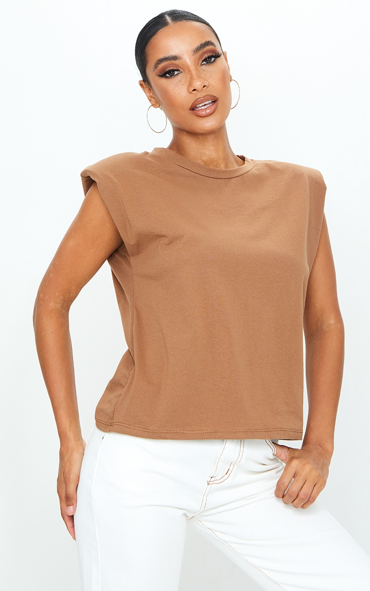 Mocha Shoulder Pad Sleeveless Oversized Top 1
