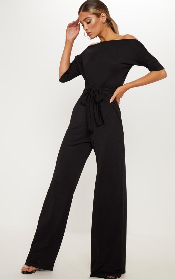 Black Off Shoulder Tie Waist Wide Leg Jumpsuit 4