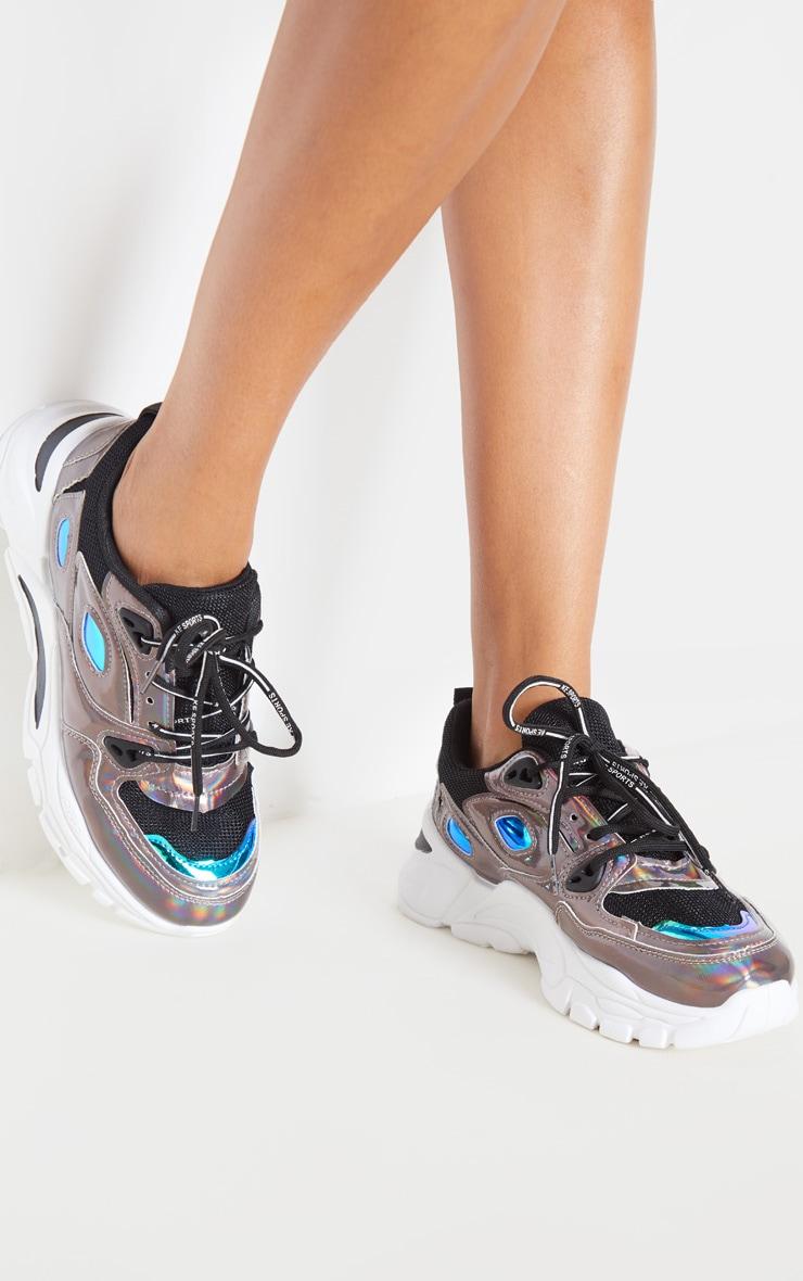 Pewter Holographic Metallic Sneakers 1