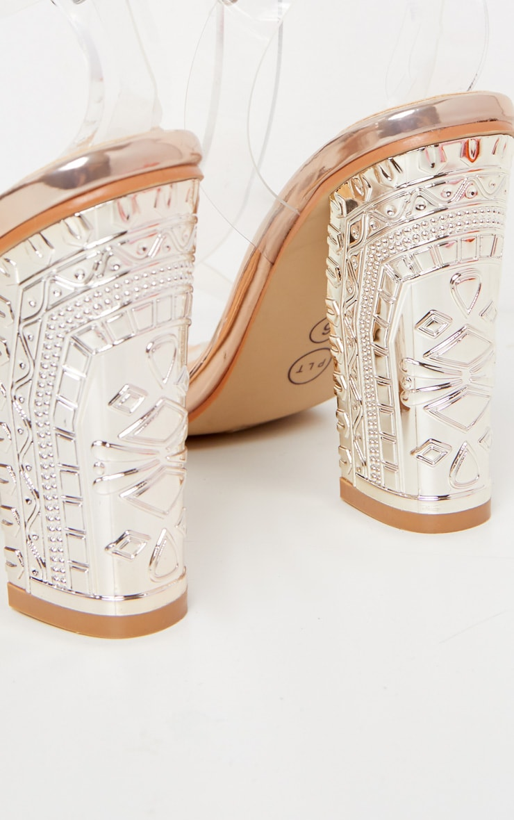 Rose Gold Clear Strap Ornate Heels 4