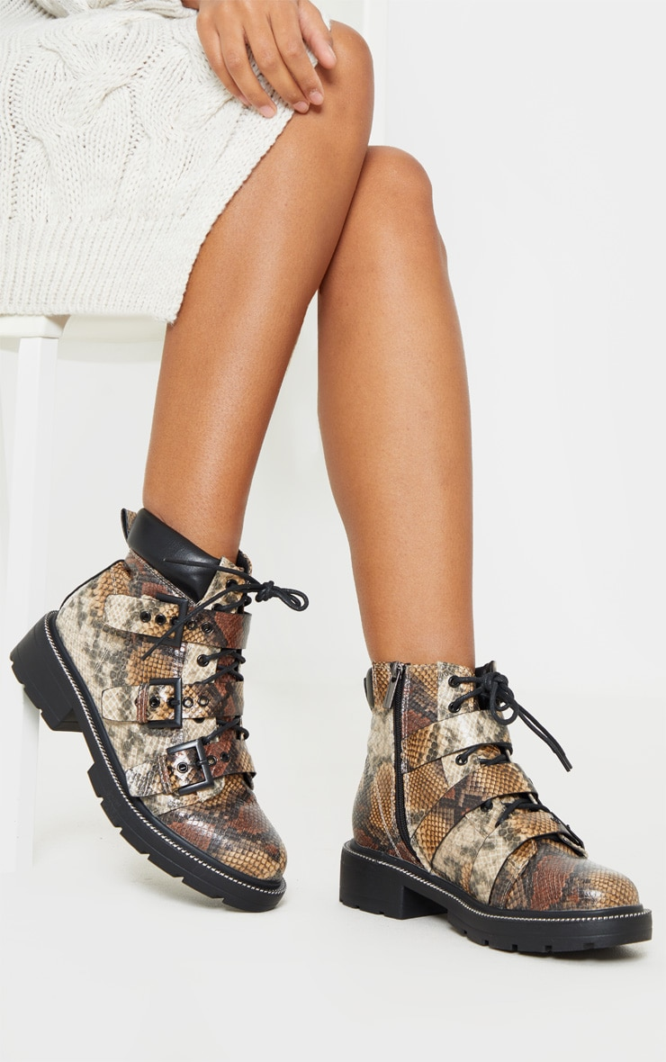 Snake Chain Sole Cleated Buckle Detail Lace Up Ankle Boot 1