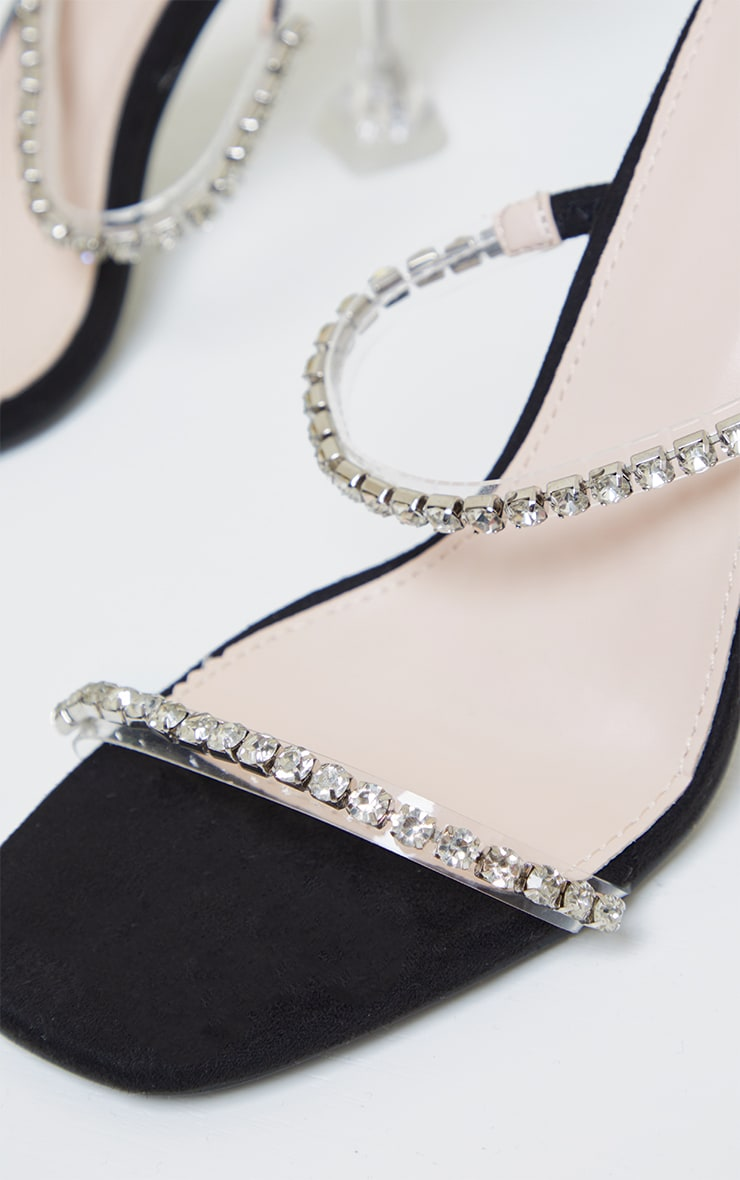 Black High Cake Stand Jewel Embellished Twin Strap Mules 4