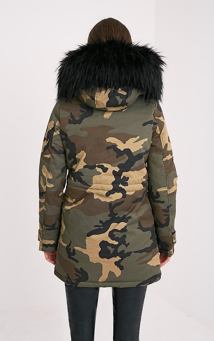 Fliss Premium parka camouflage à doublure en fausse fourrure noire 2