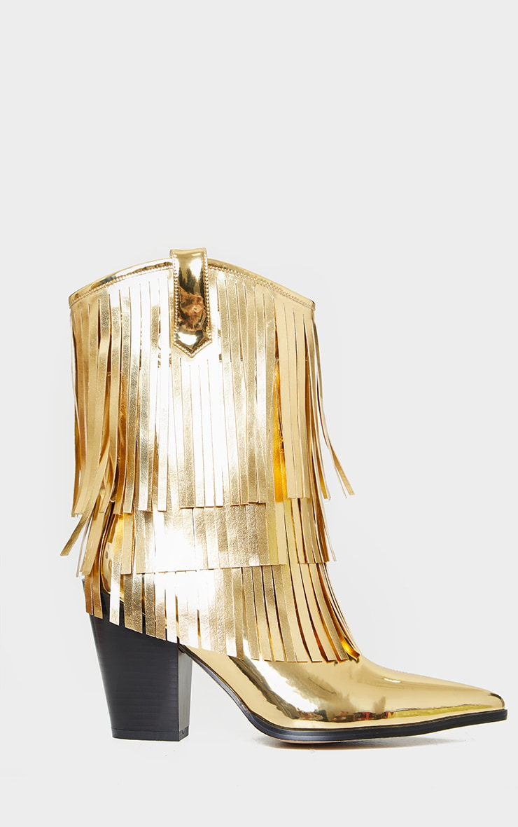 Gold Ankle Western Tassel Boots 3