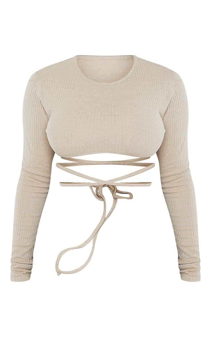 Shape Camel Thick Rib Tie Detail Crop Top 5