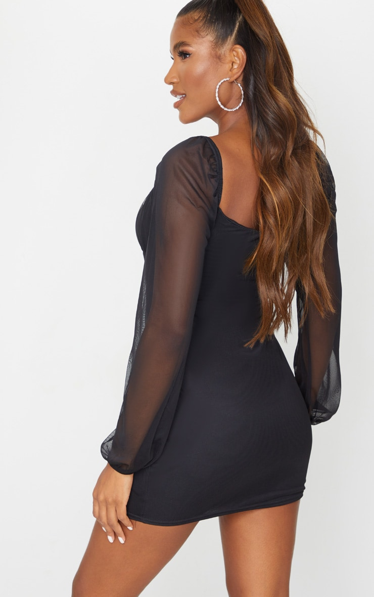 Black Mesh Ruched Bust Long Sleeve Bodycon Dress 2