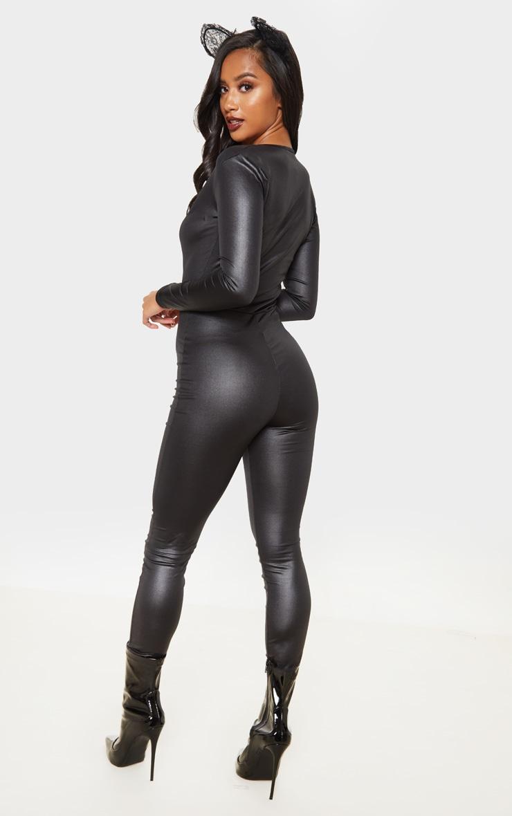 Petite Black Wet Look Catsuit  2