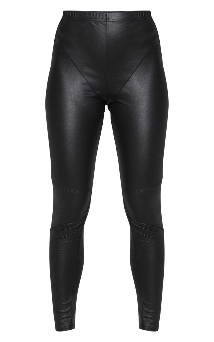 Black Coated Stitch Panel Detail Legging 3