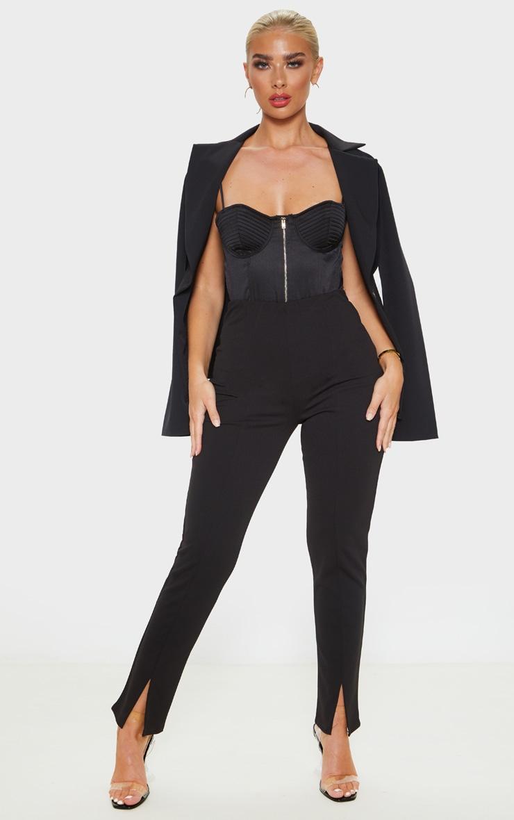 Black Split Hem Front Pants 1