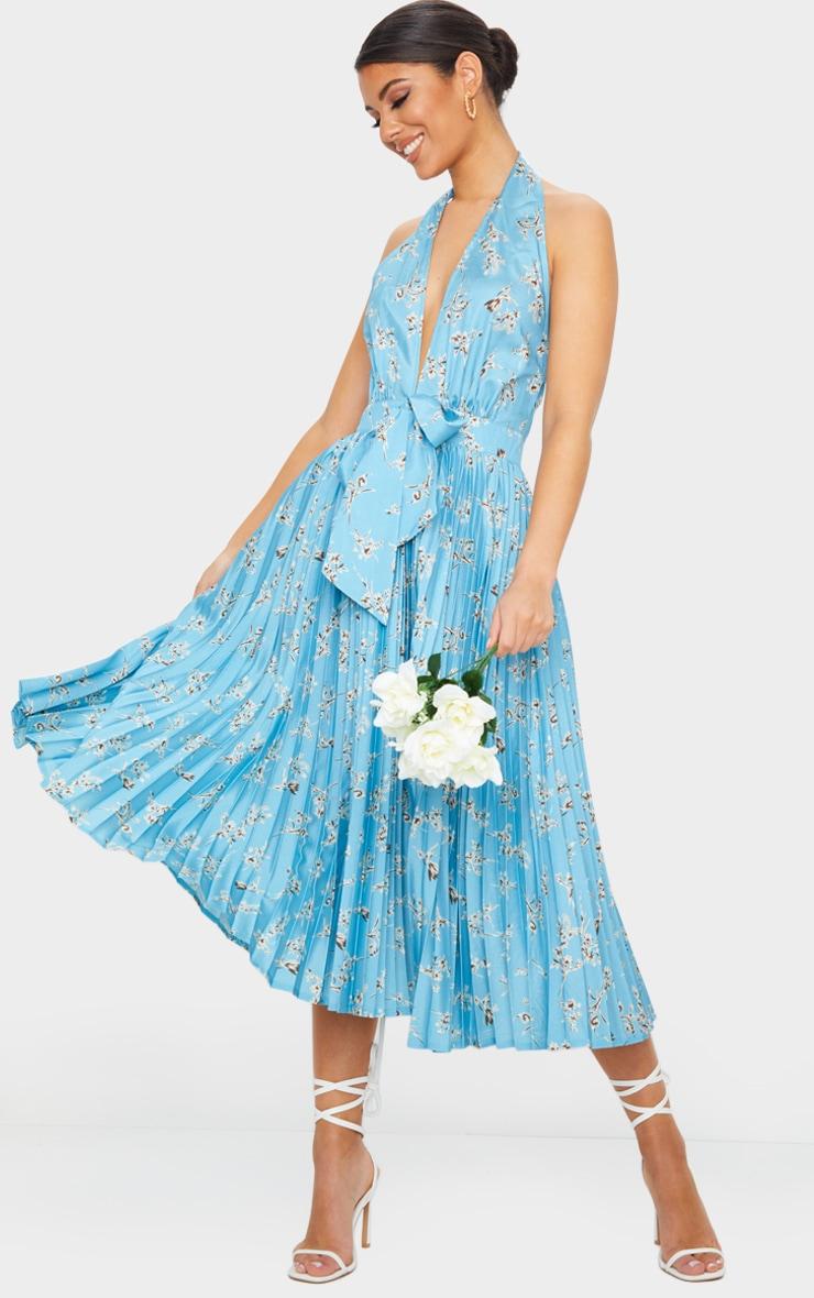 Dusty Blue Floral Print Halterneck Pleated Midi Dress 1
