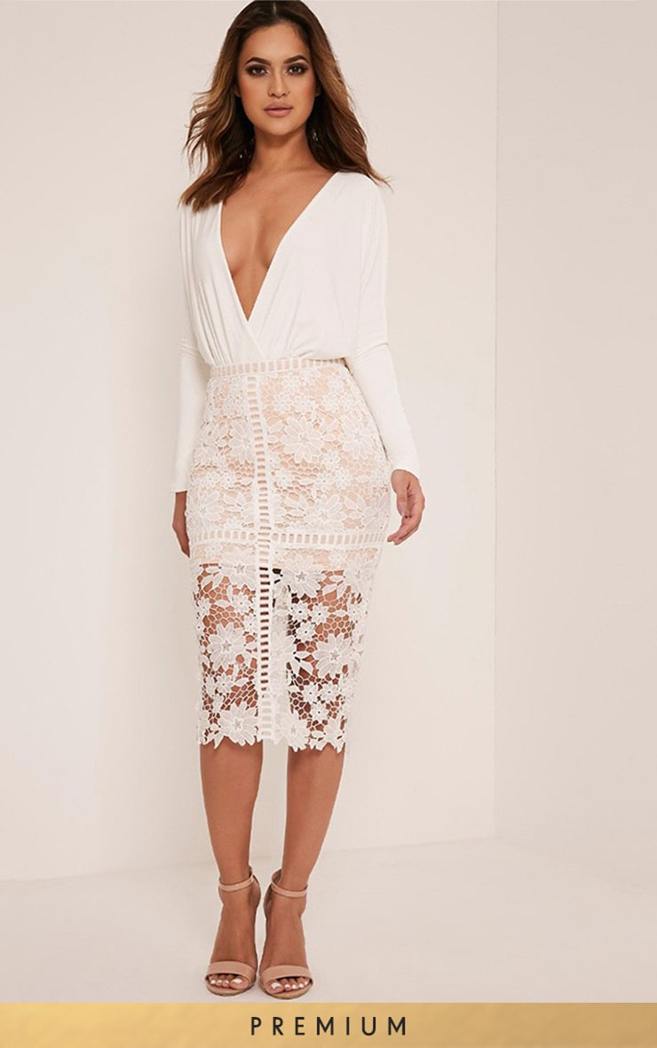 Janae White Crochet Lace Midi Skirt 1