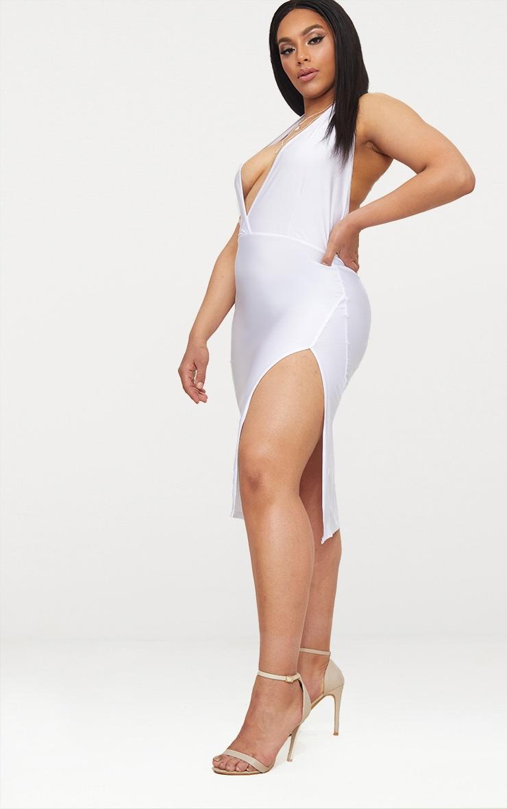 Plus White Disco Slinky Halterneck Midi Dress 3