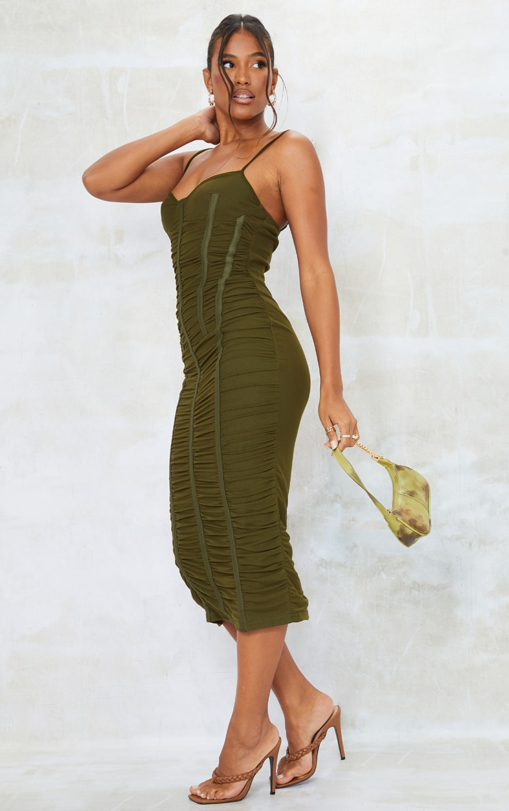 Khaki Strappy Mesh Ruched Satin Binded Midi Dress 3