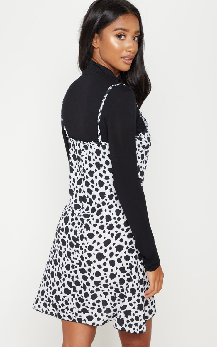 Petite White Dalmatian Print Swing Dress 2