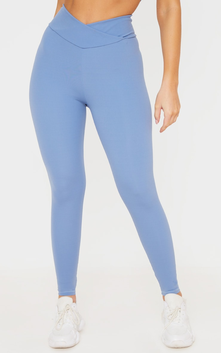 Dusky Blue Cross Waist Ruched Bum Gym Legging 2
