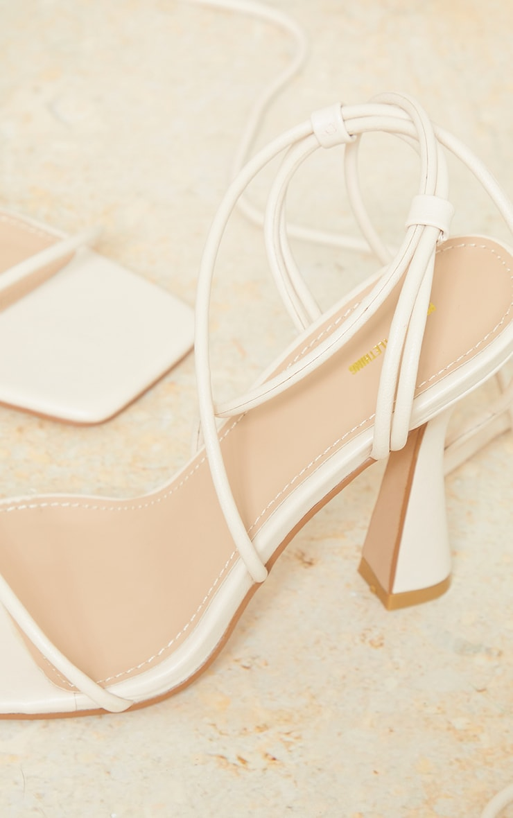 Cream Pu Toe Cage Strappy Heeled Sandals 4