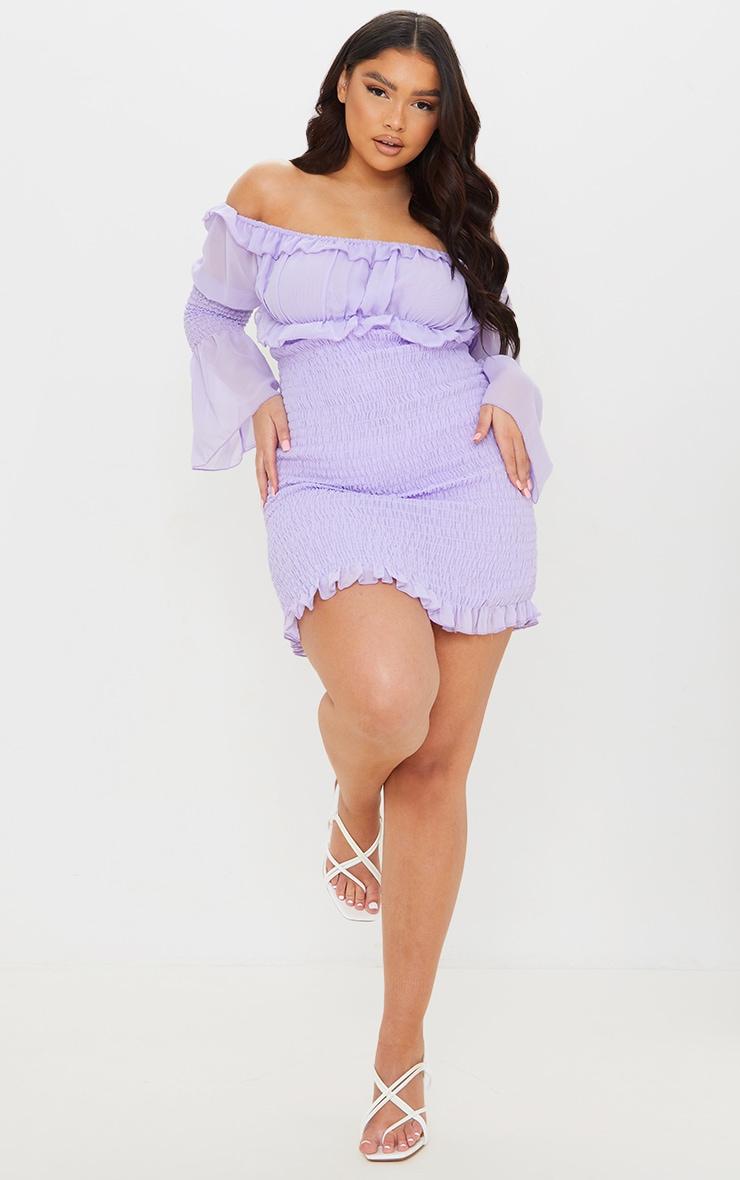 Plus Lilac Chiffon Shirred Bodycon Dress 1