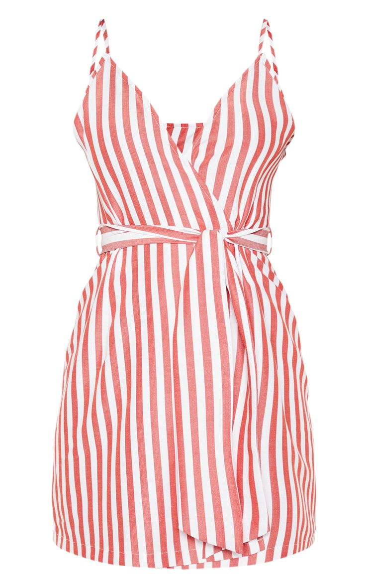 Red Stripe Print Wrap Strappy Shift Dress 3