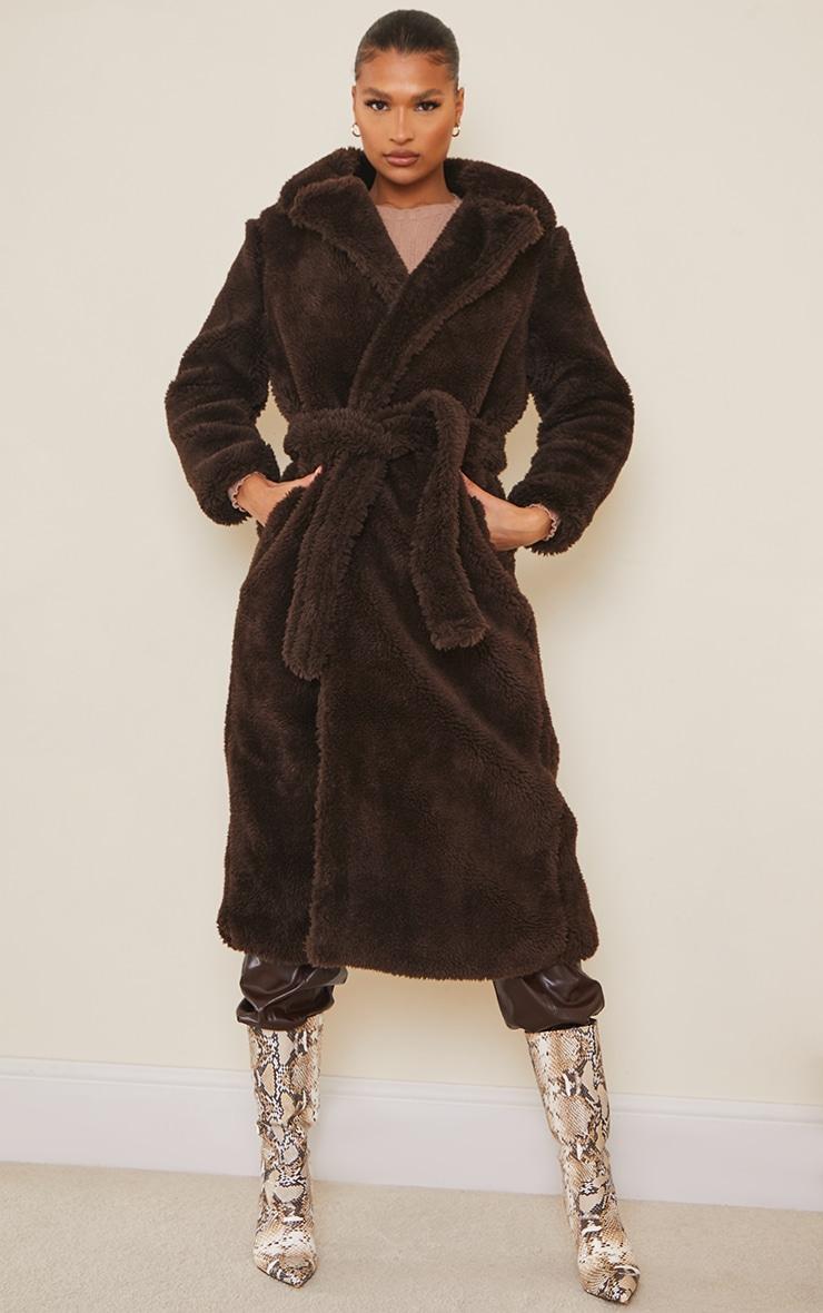 Brown Long Teddy Faux Fur Belted Coat 1