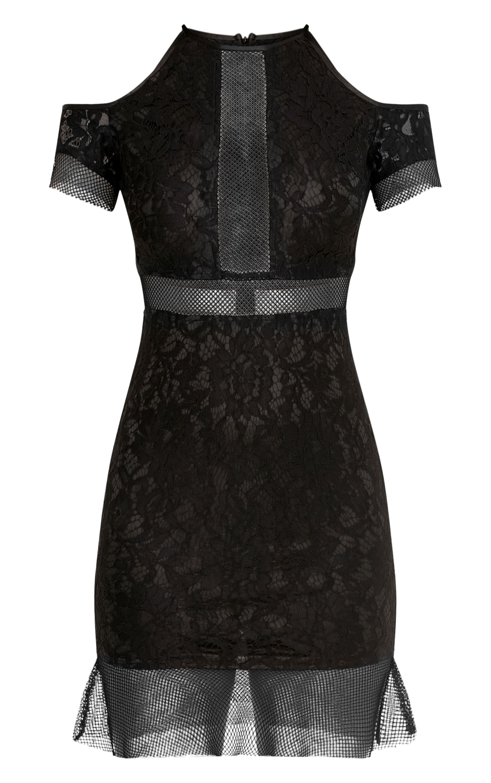 Vivien Black Lace Cold Shoulder Frill Hem Bodycon Dress 3