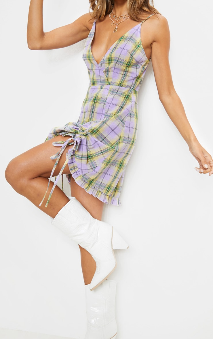 Lilac Check Print Ruched Cami Dress 4