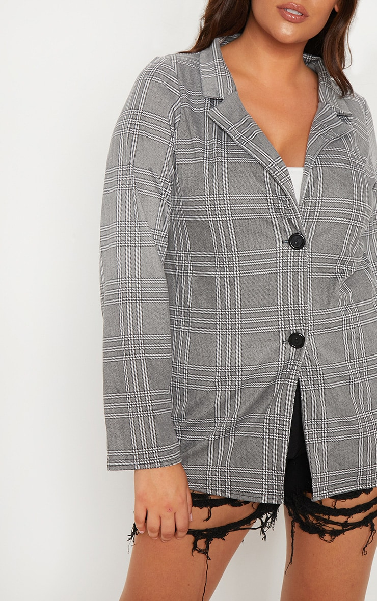 Plus Grey Checked Blazer 6