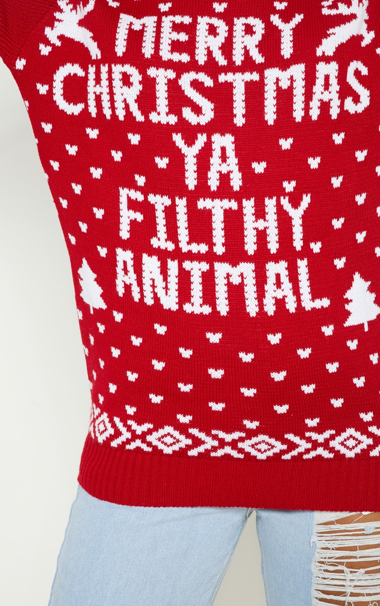 Filthy Animal Red Christmas Jumper 4