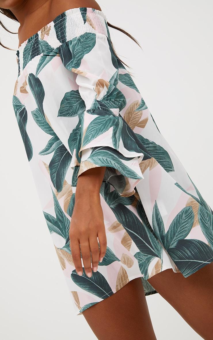 Robe droite bardot blanche imprimé palmiers  5
