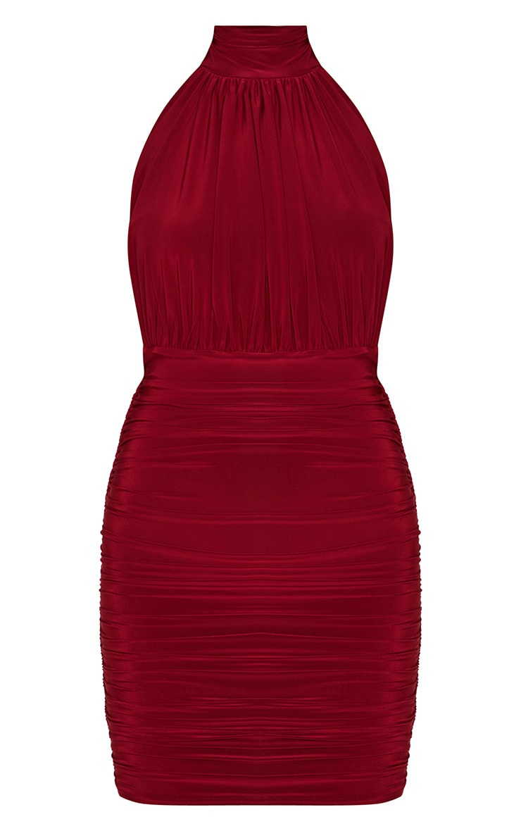 Maroon Slinky High Neck Ruched Side Dress 3