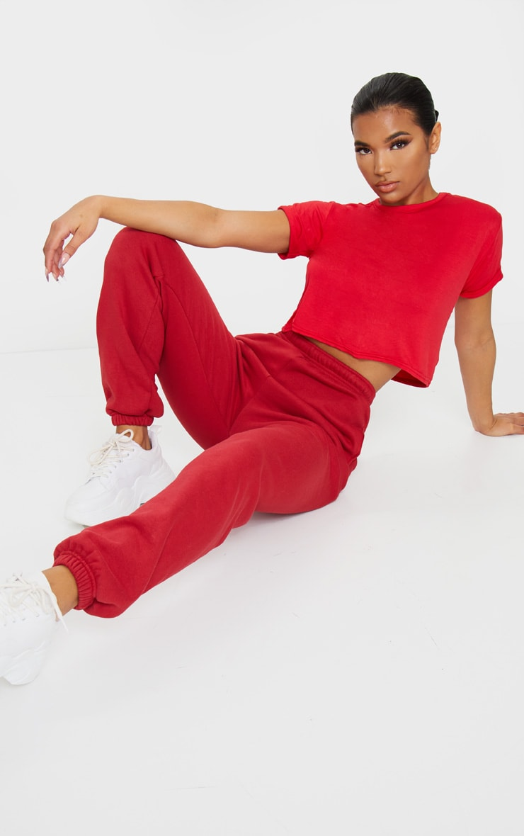 Basic Red Roll Sleeve Crop T Shirt 3