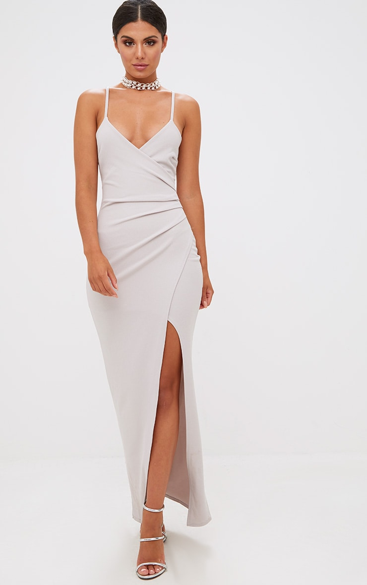 bde1b134a8f Ice Grey Wrap Front Crepe Maxi Dress. Dresses