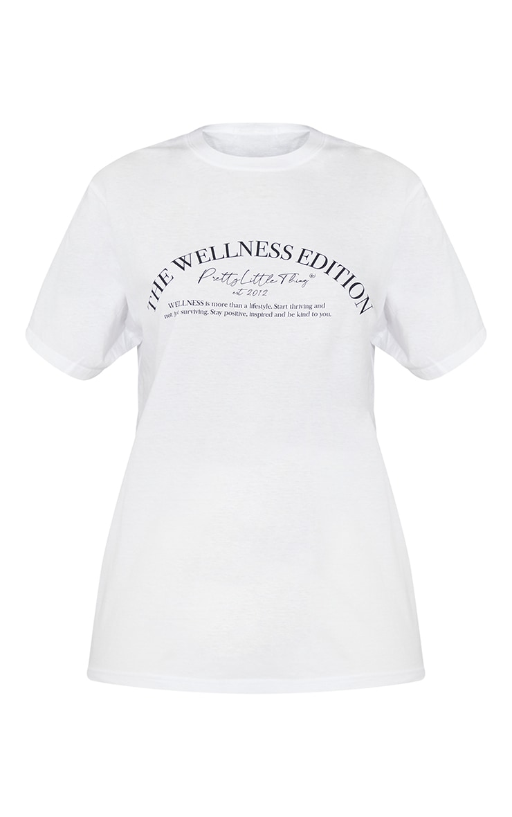 PRETTYLITTLETHING White Wellness Club Printed Oversize T Shirt 5