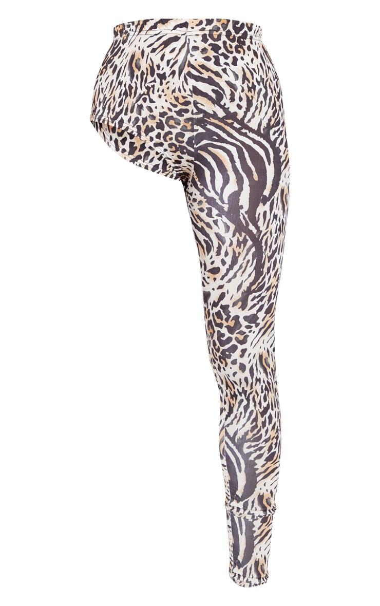 Legging à jambe unique marron imprimé animal 5