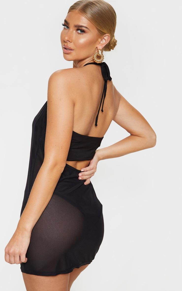 Black Basic Mesh Beach Dress 2