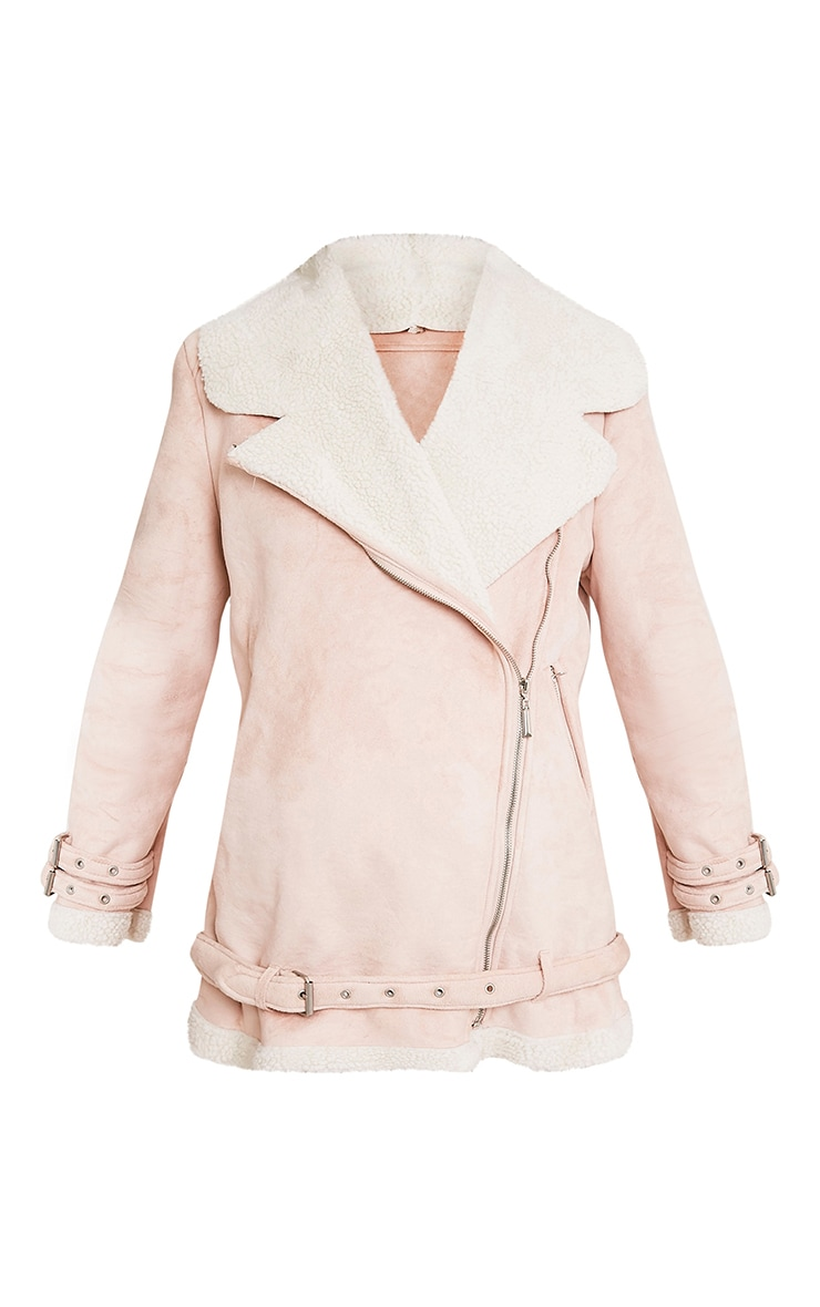 Simmi Blush Faux Suede Oversized Aviator Jacket 3