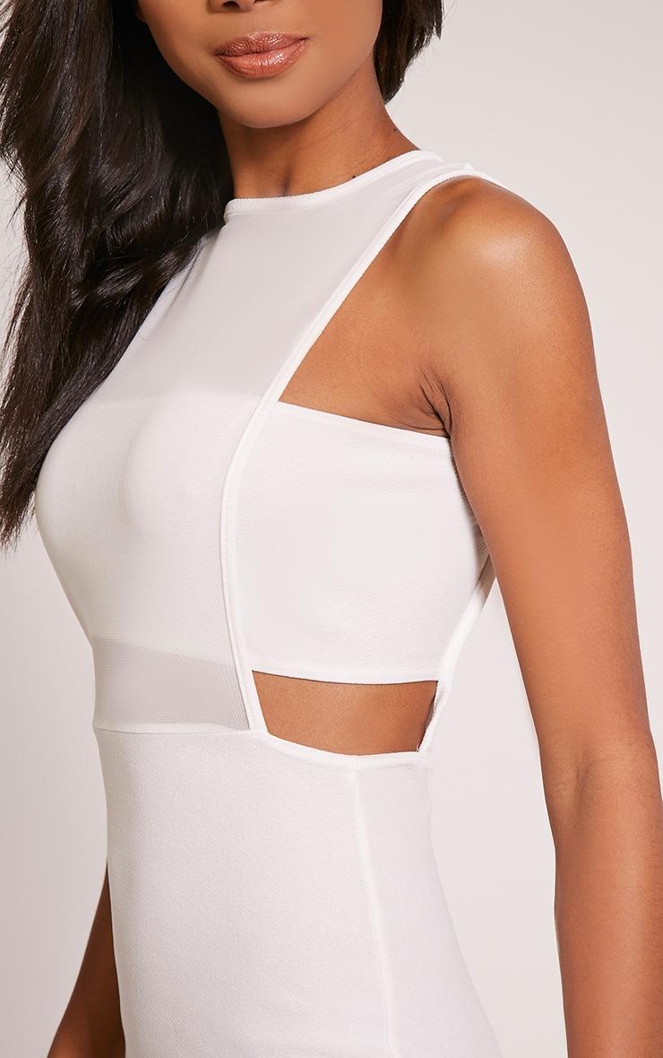 Lanelle White Mesh Detail Midi Dress 6