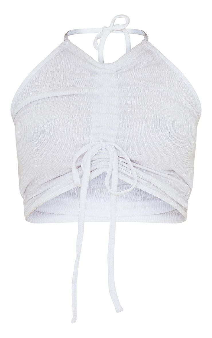Maternity White Waffle Ruched Halter Crop Top 5