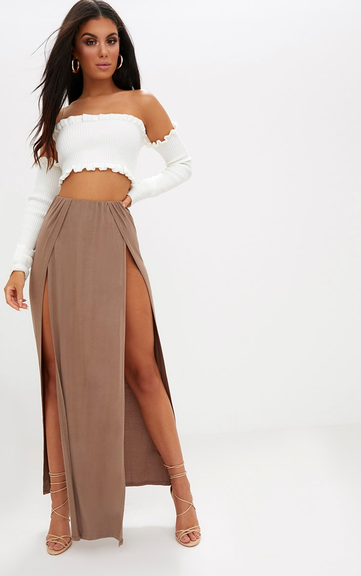 Mocha Double Split Maxi Skirt 1